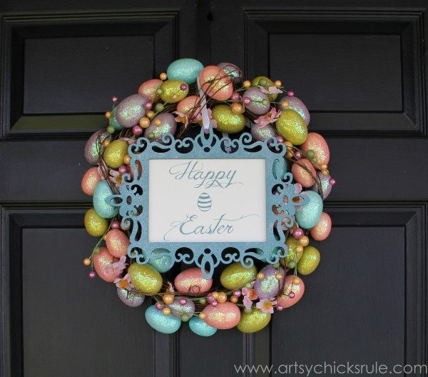 Happy-Easter-Wreath-3-Ways-Front-Door-with-Sign-artsychicksrule.com-easter-wreath-600x528