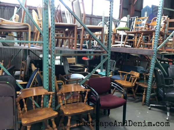 Lots of chairs at Urban Ore in Berkeley | DuctTapeAndDenim.com