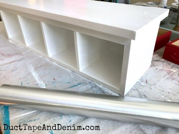 Stainless steel contact paper for my white kitchen shelf | DuctTapeAndDenim.com