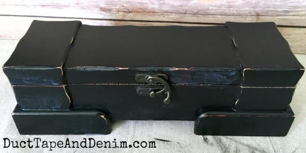 Top coat varnish on thrift store makeover box | DuctTapeAndDenim.com