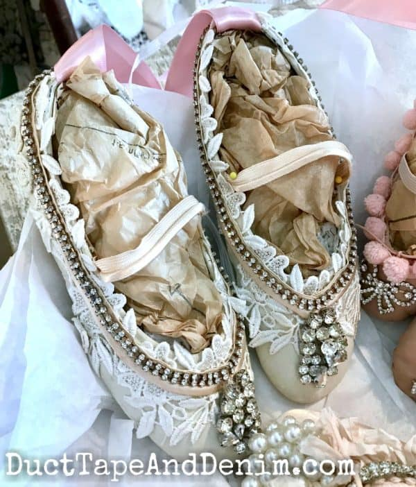 Upcycled ballet shoes in antique shop downtown Waxahachie TX | DuctTapeAndDenim.com