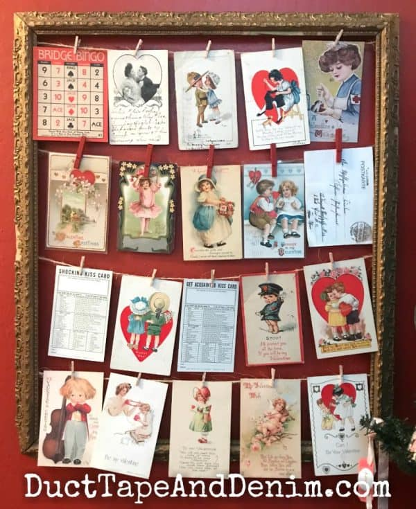 Vintage Valentine postcards displayed on antique picture frame | DuctTapeAndDenim.com