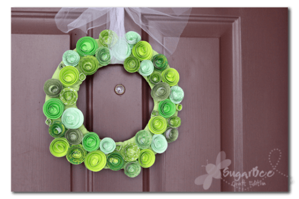 green paper rosette wreath