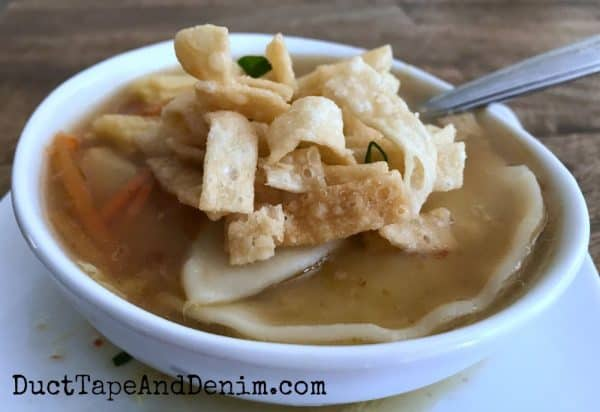 hot and sour soup with wonton strips