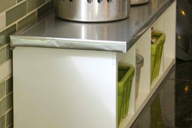 Thrift Store Kitchen Shelf Makeover with Stainless Steel Con-Tact Paper