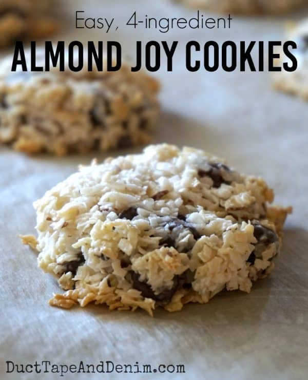 Almond Joy cookies - super easy, 4-ingredient cookie recipe | DuctTapeAndDenim.com