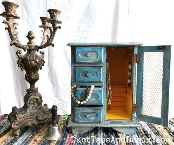 Blue boho jewelry cabinet | DuctTapeAndDenim.com