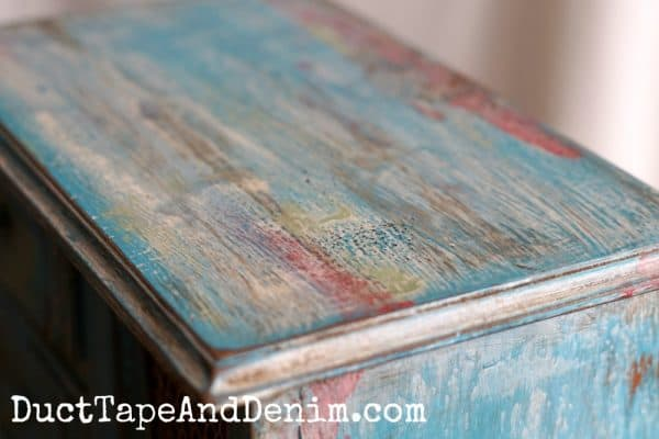 Detail on top of jewelry cabinet, boho paint finish | DuctTapeAndDenim.com