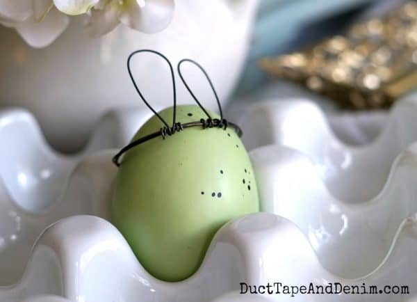 Easter egg with wire rabbit ears