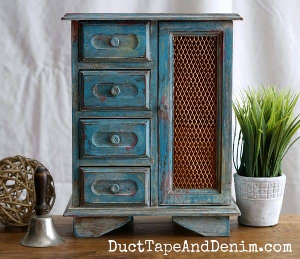 Finished blue jewelry cabinet, boho paint finish on thrift store makeover | DuctTapeAndDenim.com