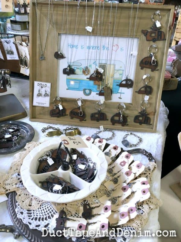 Happy camper jewelry and camper keychains at flea market | DuctTapeAndDenim.com