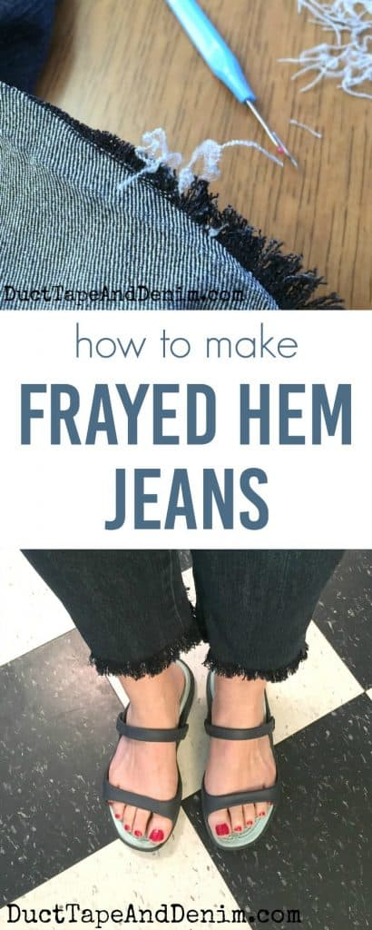 How to make frayed hem jeans, thrift store clothes makeover on DuctTapeAndDenim.com