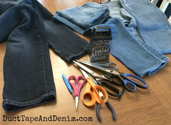 Supplies used to make frayed hem jeans | DuctTapeAndDenim.com