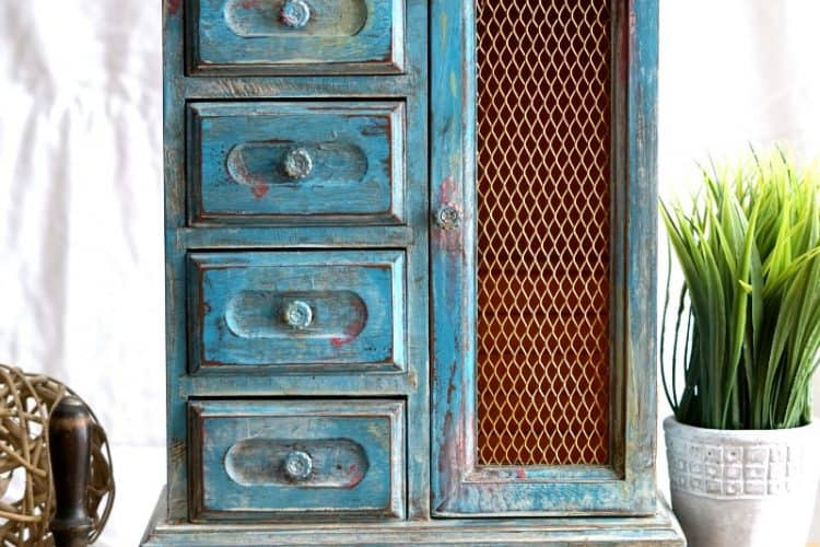 My Boho Paint Finish on a Jewelry Cabinet