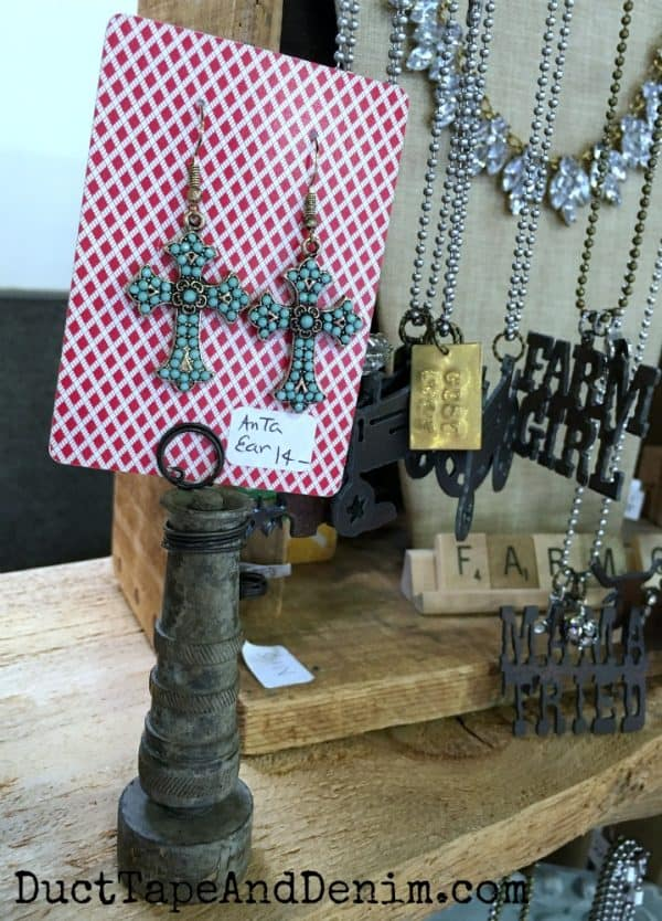 earring display at flea market | DuctTapeAndDenim.com