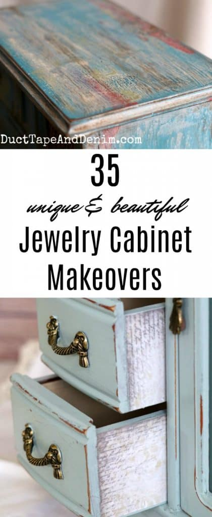 35 Unique and beautiful jewelry cabinet makeovers on DuctTapeAndDenim.com