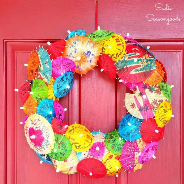 Colorful paper drink umbrella wreath