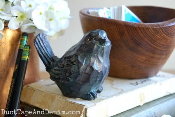 Close up of bird in spring centerpiece | DuctTapeAndDenim.com