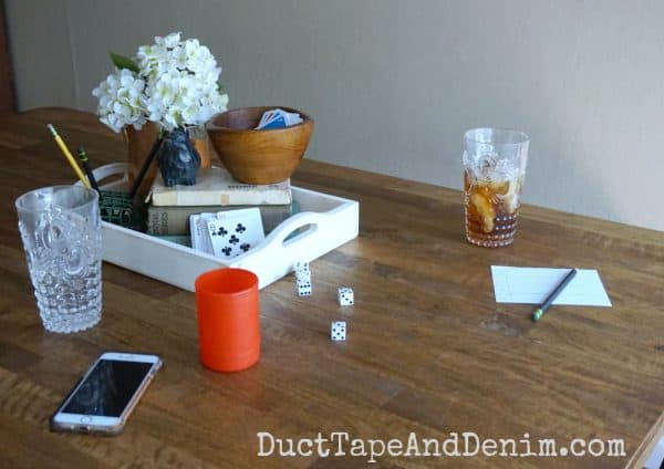 Game night on the kitchen table | DuctTapeAndDenim.com