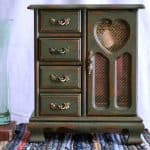 Green Jewelry Cabinet Makeover with Black Glaze