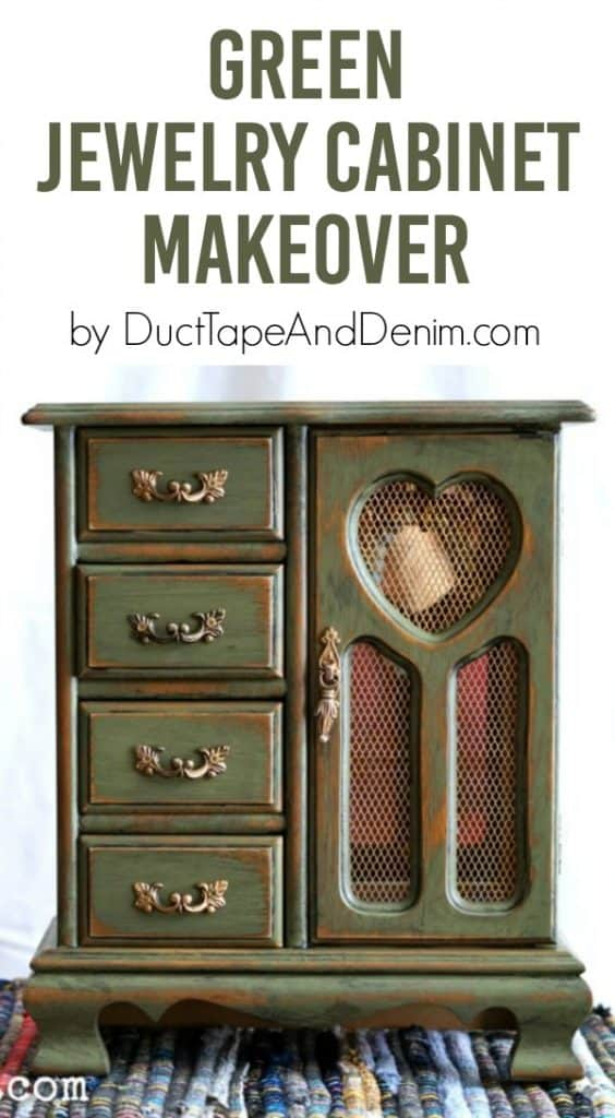 Green jewelry cabinet makeover by DuctTapeAndDenim.com