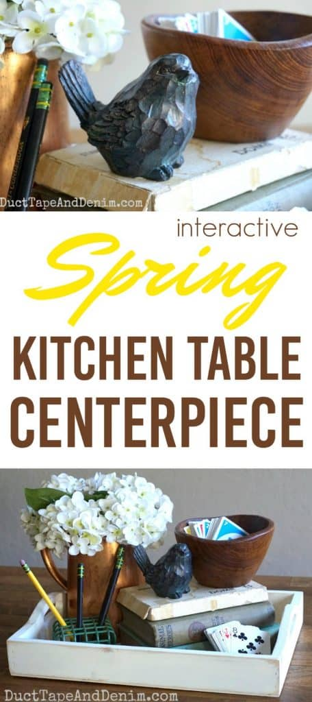 Interactive Spring kitchen table centerpiece with card games | DuctTapeAndDenim.com