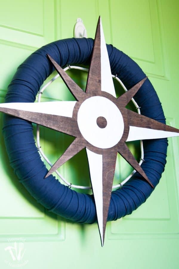 Nautical compass wreath