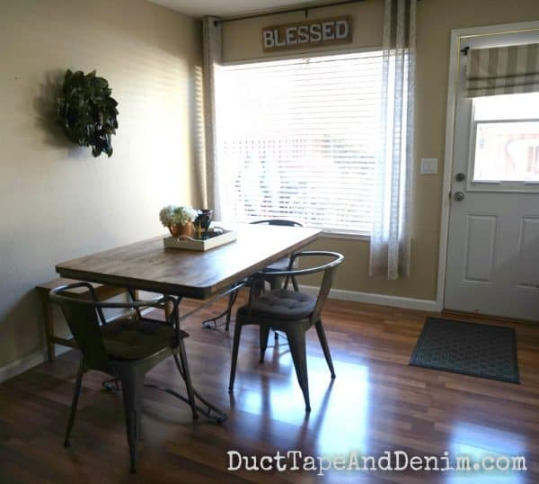 Our kitchen table and back door | DuctTapeAndDenim.com