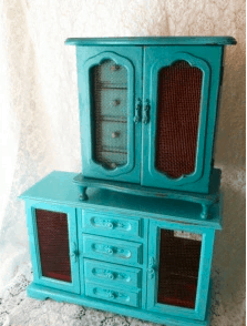 turquoise jewelry cabinet makeover