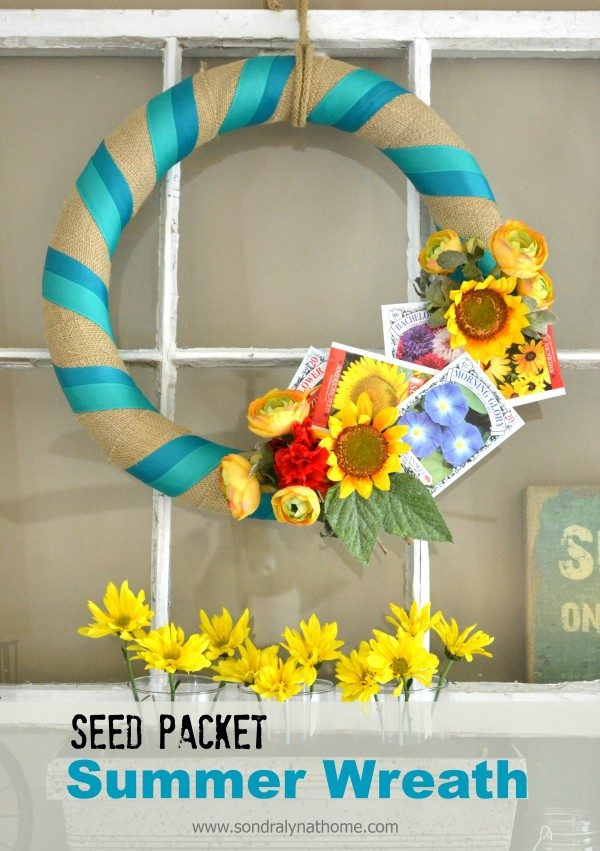 Seed packet wreath made with pool noodle