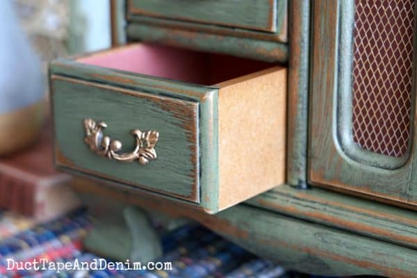 Thrift store jewelry cabinet makeover, close up of drawer