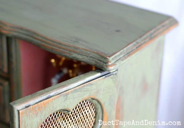 Top of green jewelry cabinet makeover | DuctTapeAndDenim.com