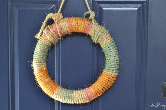 DIY tie dyed rope wreath