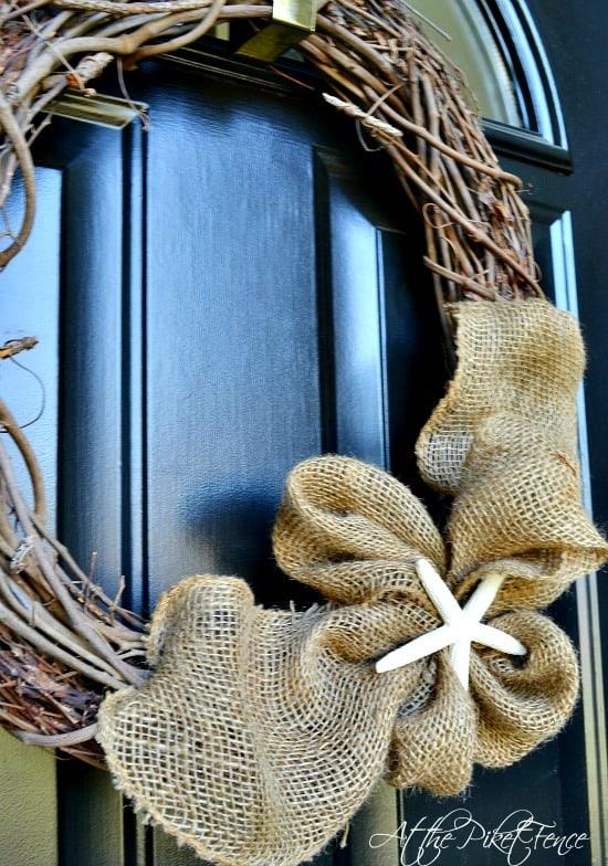 Simple burlap wreath