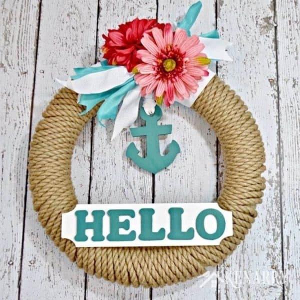 Nautical summer wreath, hello