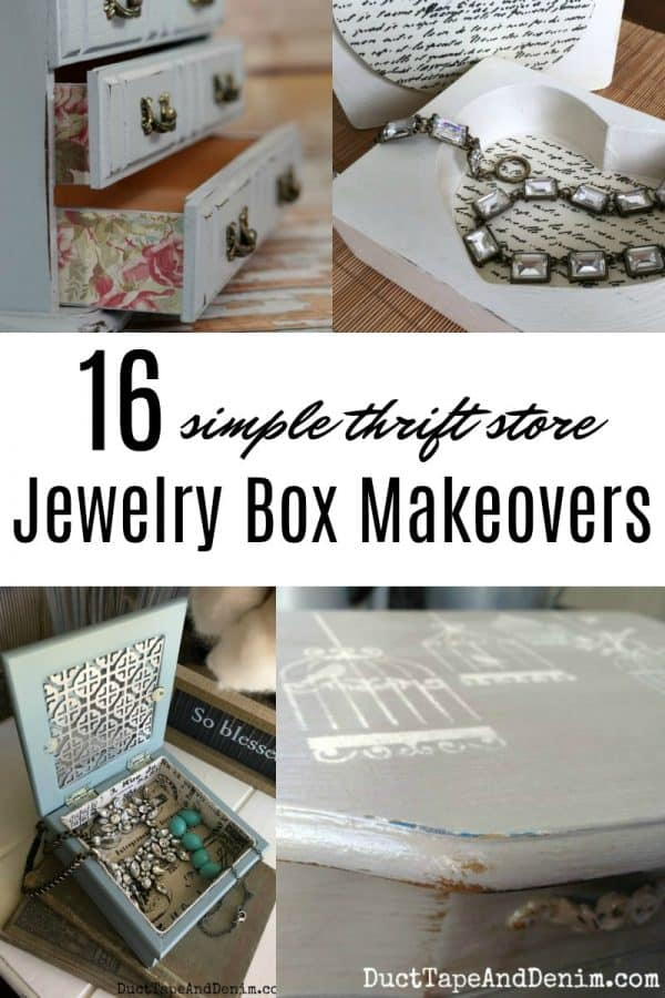 16 simple thrift store jewelry box makeovers on DuctTapeAndDenim.com
