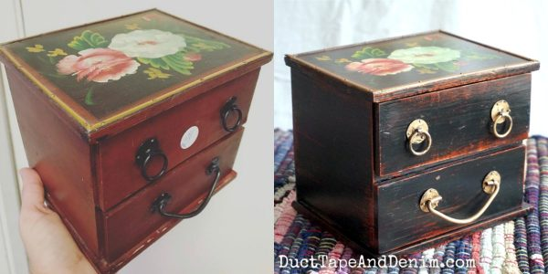 Before and after photos of floral top jewelry box