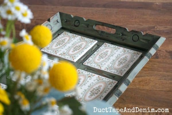 Finished green tile tray with flowers | DuctTapeAndDenim.com