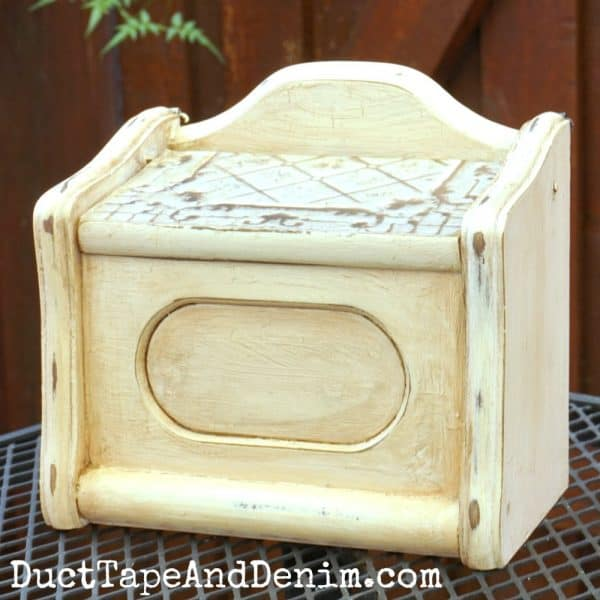 Finished recipe box with chalk paint and glaze | DuctTapeAndDenim.com