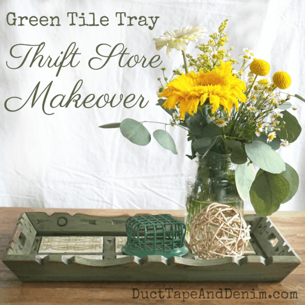 Green Tile Tray, Thrift Store Makeover. See more on DuctTapeAndDenim.com