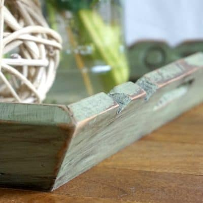Wooden Tray with Tiles, Thrift Store Makeover, Distressed Green Paint & Glaze