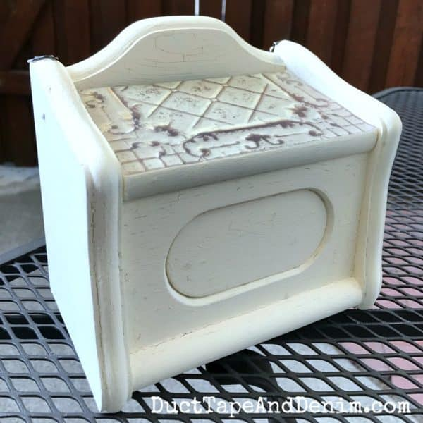 Painted wooden recipe box before glazing | DuctTapeAndDenim.com
