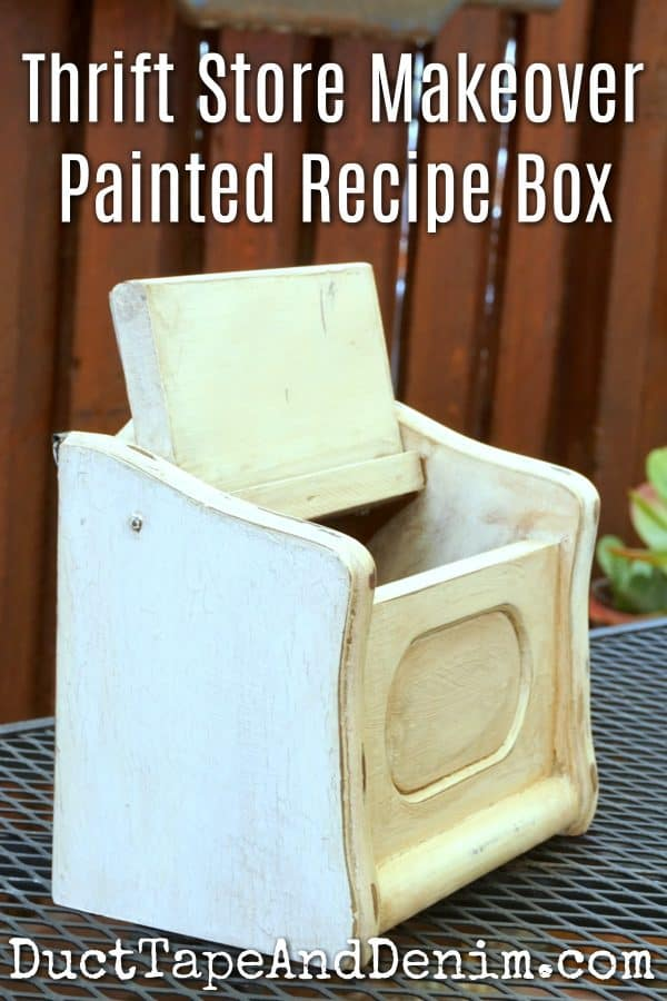 Thrift store makeover painted recipe box | DuctTapeAndDenim.com