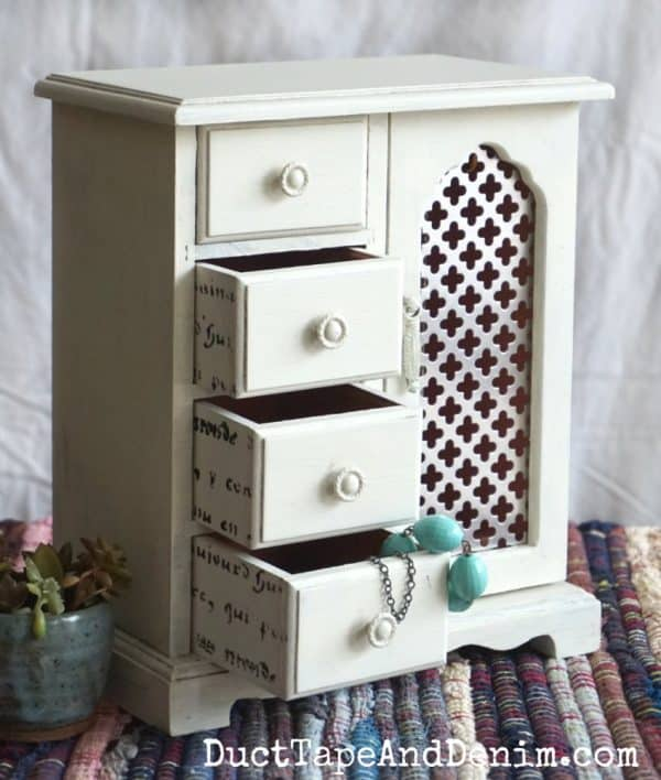 Jewelry cabinet makeover with Country Chic Paints, Natural Wax and Antiquing Dust