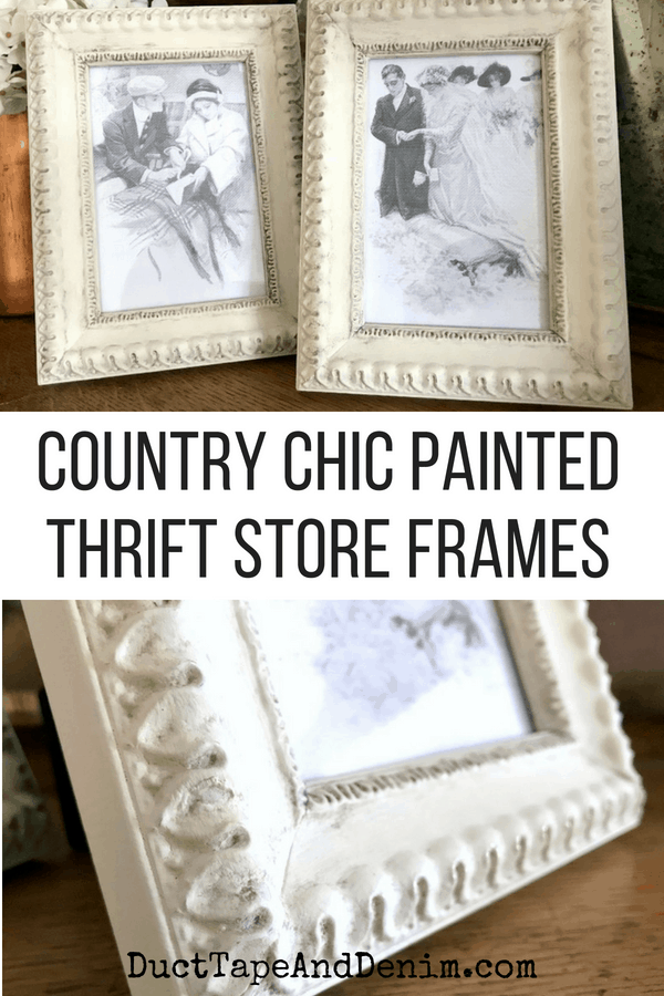 How to age painted frames with antiquing dust. See LOTS more vintage thrift store upcycle projects on DuctTapeAndDenim.com
