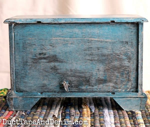 Back of my turquoise bohemian jewelry box | DuctTapeAndDenim.com