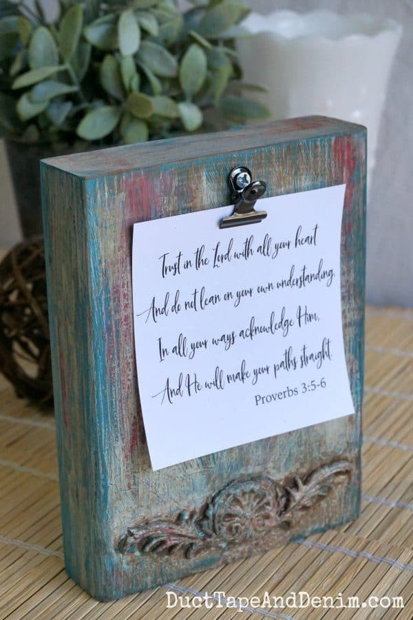 Boho paint finish wood photo holder block with Proverbs 3-5-6 card | DuctTapeAndDenim.com