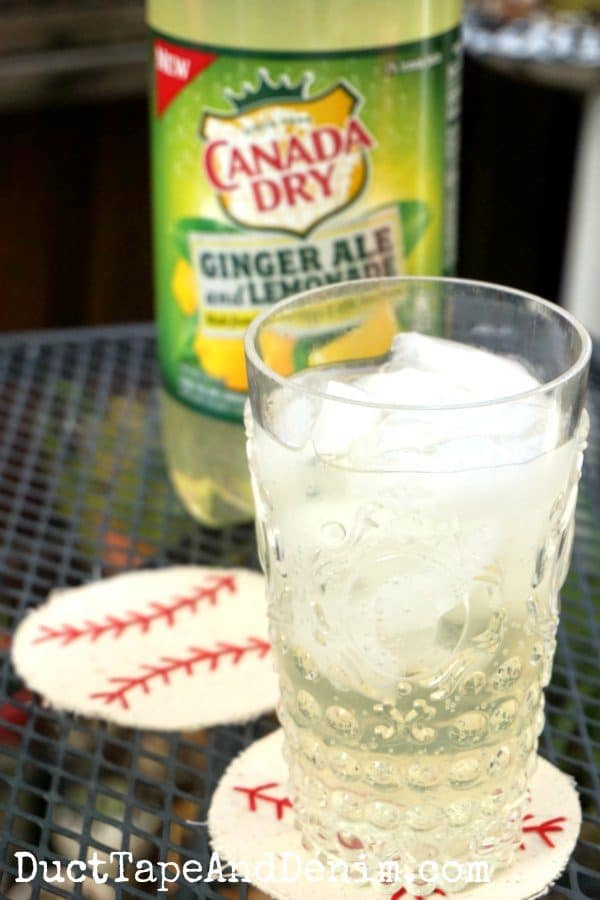 Canada Dry ginger ale and lemonade on baseball coasters | DuctTapeAndDenim.com