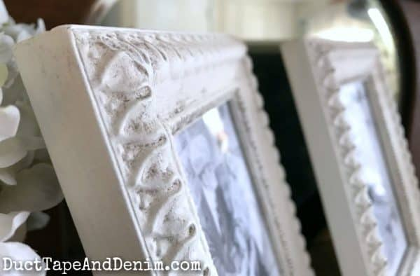 Close up of antiquing dust on finished frames | DuctTapeAndDenim.com