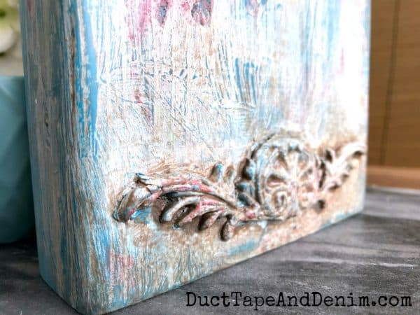 Close up of brush strokes on boho paint finish | DuctTapeAndDenim.com